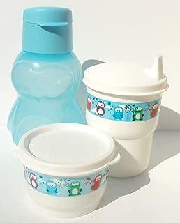 Tupperware Aqua Blue Penguin Mini Sports Bottle Eco Animals Snack Cup Sippy Tumbler Set