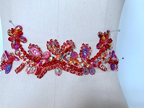 Pur fait à la main Dazzling cousu dans le filet Fil à coudre Cristaux de strass Applique Correctifs de bordure 32 x 8 cm (Rouge/noir) red