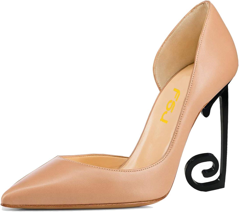FSJ kvinnor Comfort point Toe svart hög klack Dorsay Pumpar glider på Party Prom skor Storlek 4 -15 USA