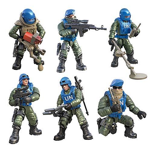 DRAKE18 6 en 1 Figuras de acción de Las Fuerzas Especiales del Ejército Soldados Juguetes Modelos Militares Montaje Playsets Set Juguetes educativos con Las Armas y Accesorios (1:36)