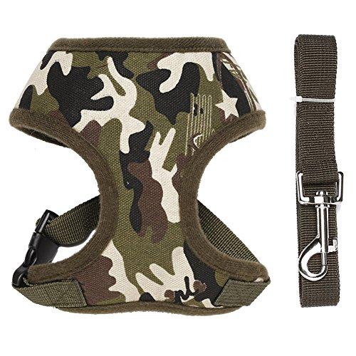 Forepin® Soft Hundegeschirr Weste Gepolstert Welpengeschirr mit Leine Brustgeschirr Camouflage Größe M