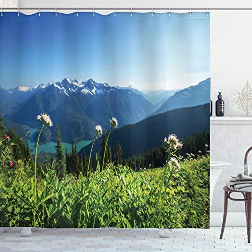 ABAKUHAUS Berg Duschvorhang, Diablo Lake Löwenzahn, mit 12 Ringe Set Wasserdicht Stielvoll Modern Farbfest & Schimmel Resistent, 175x240 cm, Himmelblau Grün