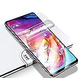 LZS Protector de Pantalla Samsung Galaxy A70, Membrana Protectora de hidrogel de Membrana Flexible Totalmente Cubierta sin Agua pulverizada. Diseñado para Pantallas de teléfono curvadas