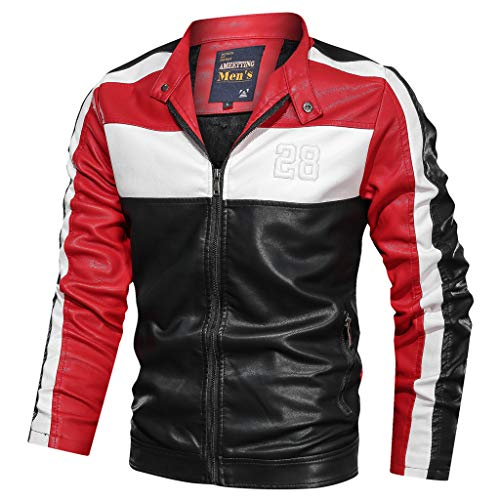 Xmiral Sweatshirt Sportiva Felpa T-Shirt Outwear Jacket Uomo Invernale Panciotto Gilet Uomo Piumino Giubbotti Suit Vest Camicia Sportivo Maglia Felpa Uomo Canotta Uomo Palestra (L,4- Rosso)