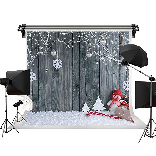 Kate 7x5ft/2.2m(W) x1.5m(H) Winter Backdrop Wood Wall Backgrounds Holiday Backdrops Snow Decorative Photography Studio