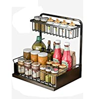 Eervff 2層調味料ラックキッチン雑貨ジャー収納ラック、42 * 36.4 * 28CM