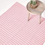 Homescapes - 100% cotone percalle Runner - tessuti a mano Rosa Bianco Tappeto - 66 x 200 cm - Lavabile a casa - Sala Runner o Large Bed Mat Side