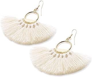 Vim Tree Womens Bohemian Fan Shape Tassel Earring Tassel Dangle Stud Earrings