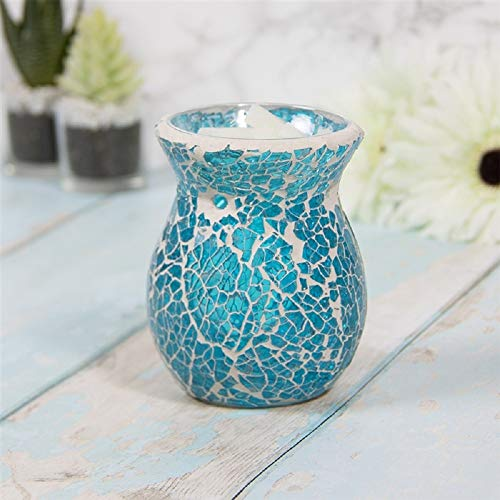 JJA Oil Burner, Teal Mosaic Design, Wax Melt Burner, Tea Light Candle Holder, Aromatherapy Tarts Holders, Perfect for Indoors to Fragrance the Home, 11CM Scented Diffuser Decorative Gift