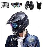 SYANO Casco Motocross Integrale Downhill,casco da cross Bambino,Nero Opaco Moto Casco Cross Country D. O. T Certificazione, con occhialini guanti maschera,Adatto A Uomini E Donne (S)