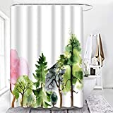 ArtSocket Pink and Green Shower Curtain,Green Tree Watercolor Shower Curtains for Bathroom Decor Sets, Pink Floral Shower Curtain with 12 Hooks Waterproof Polyester Fabric 72 x 72 Inches
