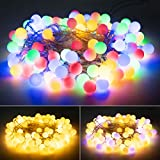 33 Feet 100 Led Globe Ball String Lights, USB Fairy String Lights Plug in, 8 Modes with Remote, Decor for Indoor Outdoor Party Wedding Christmas Tree Garden, Warm and Multi