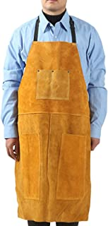 Leather Welding Apron - Heavy Duty Tools Shop Apron with 3 Pockets