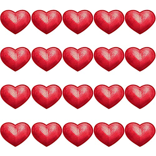 20 Pieces Valentine's Day Red Heart Sequin Patches Glitter Heart Sew Iron on Applique Heart Shape Decorative Patches for Garments Costumes Hats Shoes Bags