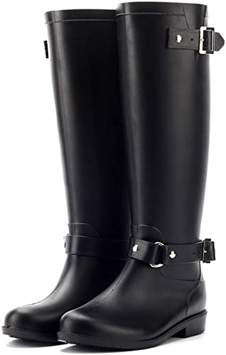 SSQZJ LEWWB Bottes Bottes de Pluie Femme en Caoutchouc Talon Imperméable Zip Hautes Wellington bottes,7(UK)  il y a plus de marques de produits de haute qualité