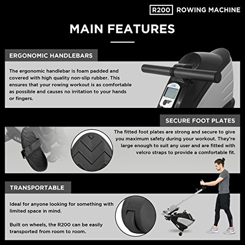 JLL R200 Home Rowing Machine, 2020 Model Rowing Machine Fitness Cardio Workout with Adjustable Resistance, Advanced Driving Belt System, 12-Month Warranty, Black and Silver Colour