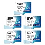 Silicon Power 64GB 5-Pack Superior Pro Micro SDXC UHS-I (U3), V30 4K A1, High Speed MicroSD Card with Adapter