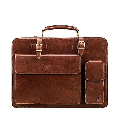 Maxwell-Scott® Luxus Aktentasche aus Leder für Herren in Cognac Braun (Alanzo)