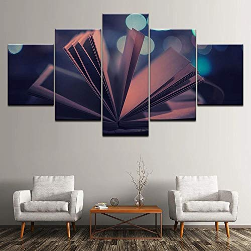 QZWXEC Canvas Painting Abstract Opening Book 5 Pieces Wall Art Painting Modular Wallpapers Poster Print for Living Room Home Decor