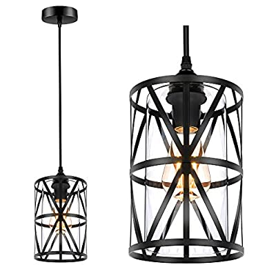 Industrial Metal Pendant Light, Adjustable Hanging Ceiling Lighting Fixture with Cylindrical Clear Glass Shade, Black Vintage Pendant Lights for Kitchen Island Dining Room Hallway Bedroom, E26 Base