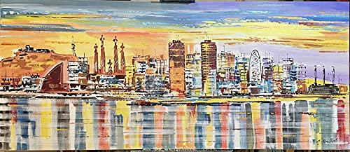 Cuadro Skyline de Barcelona al atardecer pintado a mano, lienzo original. 140x60cm