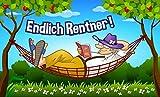 Fanshop Lünen Fahne - Flagge - Endlich Rentner - Hängematte - (Wiese, Blumen, Garten, Hurra) - 90x150 cm - Hissfahne mit Ösen -
