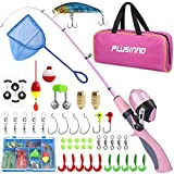 PLUSINNO Kids Fishing Pole, Portable Telescopic Fishing Rod Combos Full Kits - with Fishing Net, Travel Bag, and Tackle Box, Spincast Fishing Reel Youth Fishing Gear for Kids, Girls, Boys