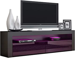 TV Console MILANO Classic BLACK - TV stand up to 70-inch flat TV screens – LED lighting and High Gloss finish front doors – Mesa TV Milano para televisores hasta 70 pulgadas (Black & Purple)