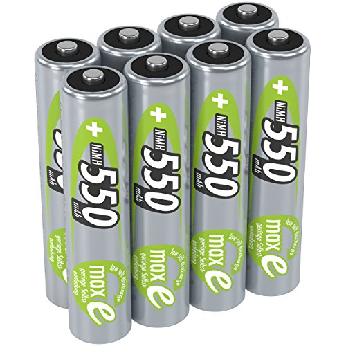 ANSMANN Akku AAA 550 mAh NiMH 1,2 V (8 Stück) - Micro AAA Batterien wiederaufladbar, maxE geringe Selbstentladung für jahrelangen Einsatz