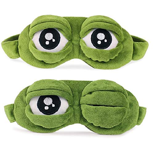 Hemuu 2 STÜCKE Schlafmasken/Sleep Masks, lustige kreative Augenmaske Nachtmaske, weiche und hautfreundliche 3D Reiseschlafmaske mit Gummiband, Frosch Maske Schlafen Reisen für Kinder und Erwachsene