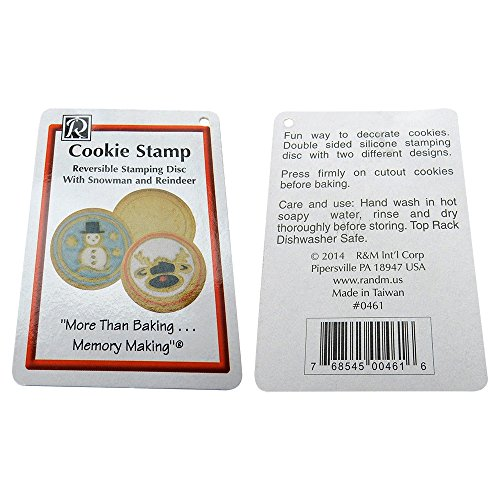 Cutout Cookie Stamp - Silicone Embossing Tool, 2 Designs, Snowman/Reindeer, 0461.