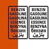 Benzin Aufkleber 2er Set, große oder kleine Version, Sticker für Camper Bus Offroad 4x4 Wohnmobil Boot oder Geländewagen