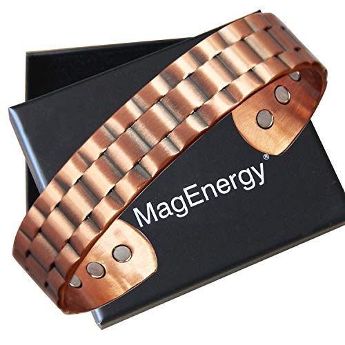 Mens Copper Bracelet 99.9% Pure Copper Magnetic Bracelet with 6 Powerful Magnets for Effective Joint Pain Relief, Arthritis, RSI, Carpal Tunnel