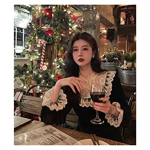 Vestidos de Mujer Vestido Negro Francés Vestido De La Fiesta De La Noche De La Noche Femenino Casual Retro Elegante Invierno Vestido Lindo Vestido de Novia Zzib (Color : Schwarz, Size : M)