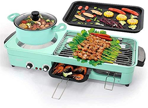 KMILE Parrilla eléctrica sin Humo, 2 en 1 Barbacoa eléctrica Anti-Stick Poder Hot Pot Fry Cocina de Gran Capacidad para la Cocina con Control de Temperatura Ajustable, el hogar Antiadherente electo
