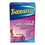Theraflu Flu & Sore Throat Packets Apple Cinnamon Flavor - 6 ct, Pack of 2