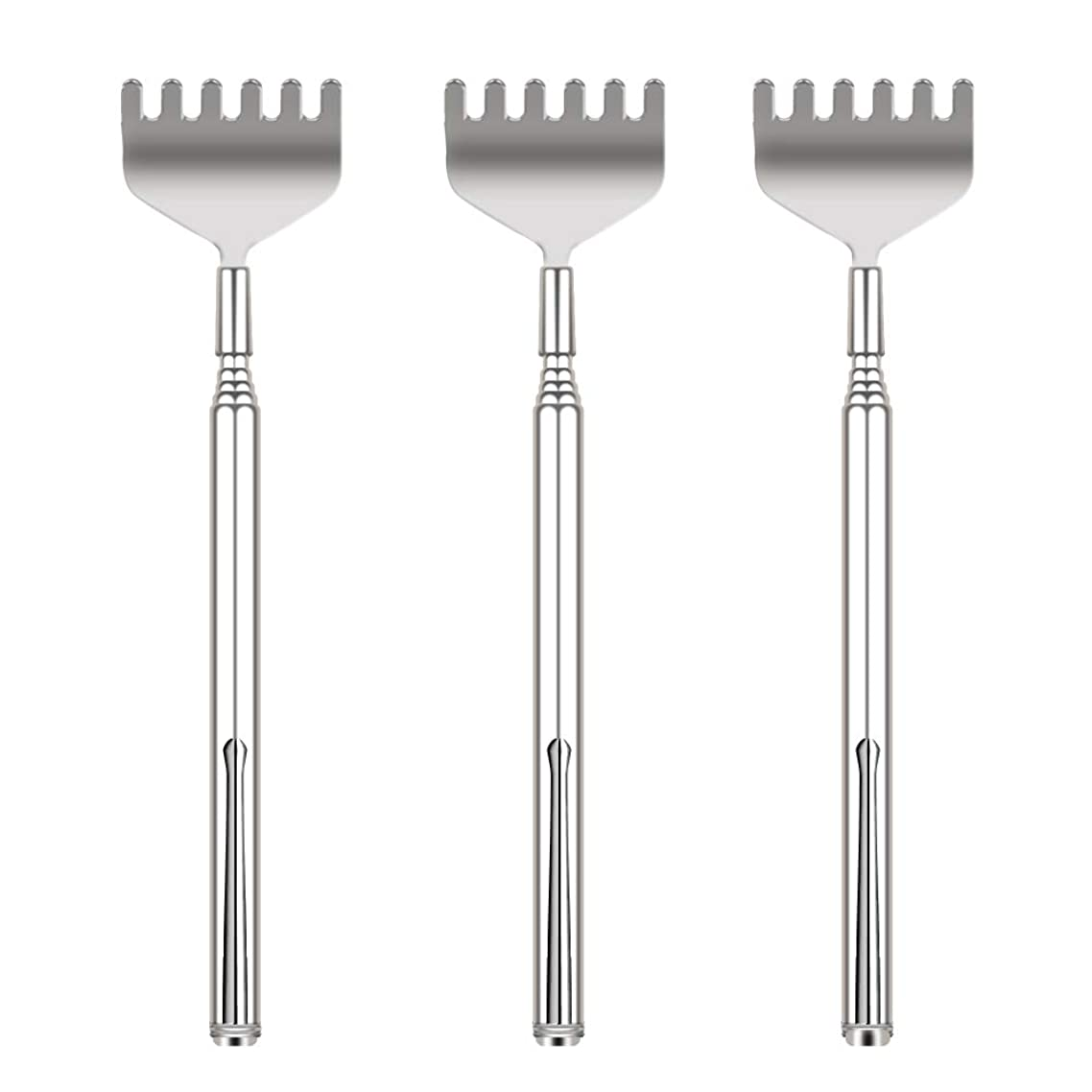 Updated 6 Tooth Back Scratcher, OHFUN 3 Pack Portable Extendable Telescopic Metal Back Scratchers/Hand Massager with Pocket Clip for Thanksgiving, Birthday, Christmas Gifts (Style 1)