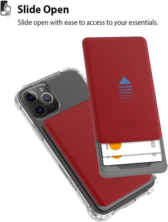 Design Skin Stick-on Sliding Card Holder, Universal Cell Phone Wallet Case with Hidden Card Slot, Compatible with All Smartphones - Burgundy Red (ITM17347)