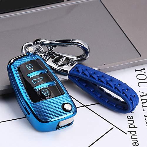 ontto Autoschlüssel Hülle Cover fürAudi A3 S3 TT A4 A6 Q7 A1 S1 Q3 RS4 RS6 Q5 TTS R8 Seat Exeo 3R Schlüsselhülle mit Schlüsselanhänger TPU Kohlefaser Muster Schlüssel Schutz Etui Case 3 Tasten-Blau