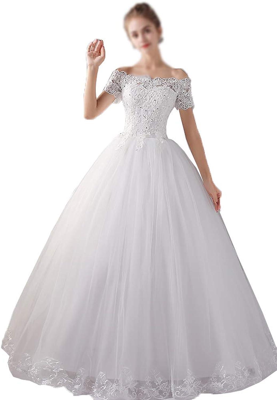 EieenDor Women's Short Sleeve Wedding Dresses Boat Neck Tulle Lace Elegant Bridal Dress 2018 White