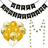 Qpout Feliz Aniversario Banner Guirnalda Con Globos Accesorios Para Fotos De Bodas Doradas Aniversario Fiesta Bunting Amor Aniversario Celebración Decoración Suministro oro Negro