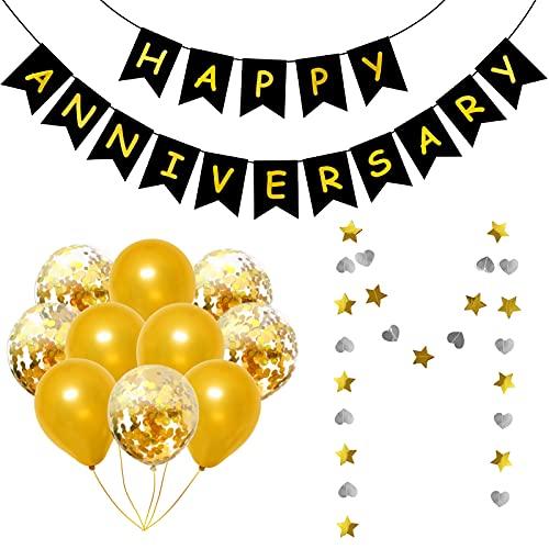 Qpout Feliz Aniversario Banner Guirnalda Con Globos Accesorios Para Fotos De Bodas Doradas Aniversario Fiesta Bunting Amor Aniversario Celebración Decoración Suministro Oro Blanco