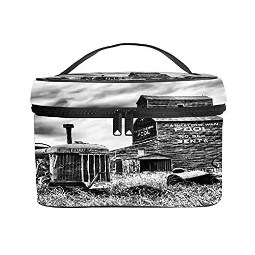 CIKYOWAY Trousse de Maquillage Portable,Vieux Tracteur abandonné près d'un élévateur à Grains dans la Ville fantôme de Bents dans Le Centre de la Saskatchewan,Canada,Cosmétique Trousse
