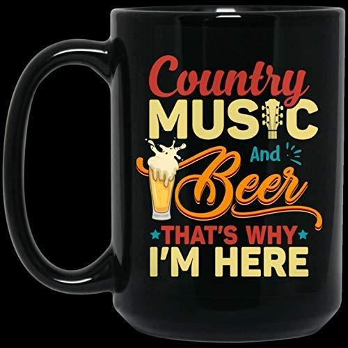 Divertida taza de café navideña de Halloween, regalo de 11 oz, música country y cerveza, por eso estoy aquí, regalo para amantes de la música country, taza de café de cerámica
