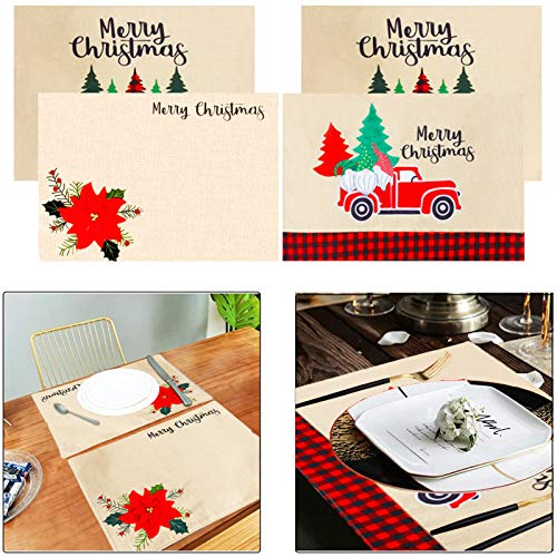 MINILIFE Christmas Holiday Placemats Embroidered Christmas Tree red Truck and 3D Poinsettias Floral Burlap-mat are Heat Resistant, Stain Resistant and Washable for Kitchen Table Decoration Set of 4