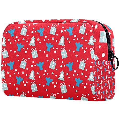 KAMEARI Bolsa de cosméticos roja regalo árbol de Navidad 01 grande bolsa de cosméticos organizador multifuncional bolsas de viaje