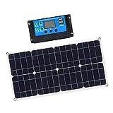 Fenteer Panel Solar Monocristalino Delgado, Ligero, Flexible, Flexible, De 100 Vatios, 12 V para RV, Barco, Cabina, Fuera De La Red