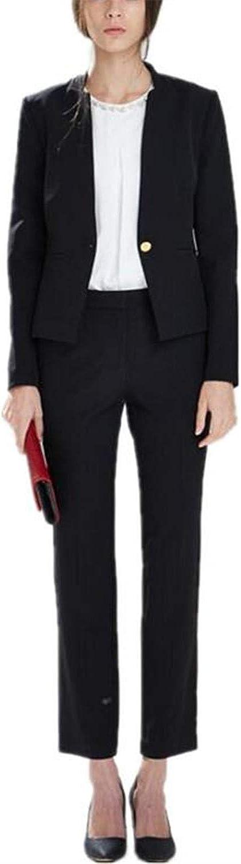 Women's 2 Pieces Slim Fit Blazer Jacket Pants Suit Set Business