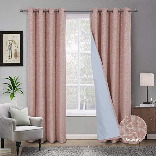 Always4u - Cortinas opacas 100% opacas, doble cortina térmica, aislante antifrío, opaco, total para salón, moderno, cocina, habitación infantil, 140 x 245 cm, color rosa