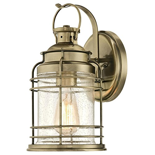 Westinghouse Lighting 6335200 Kellen One-Light Outdoor Wall Fixture, Antique Brass Finish with Clear Seeded Glass